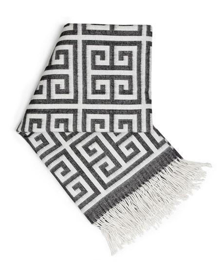 Greek-Key Alpaca Throw