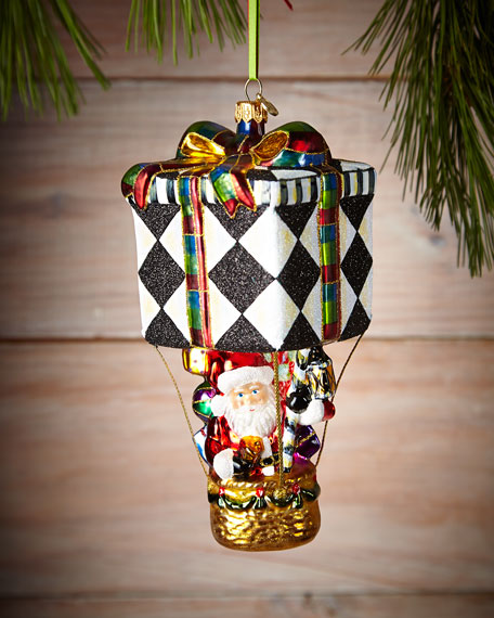 MacKenzie-Childs Up, Up, and Away Santa Christmas Ornament