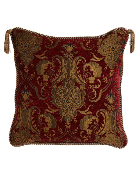 """Austin Horn Collection Scarlet Reversible Pillow with Two Beaded Tassels, 20""""Sq."""