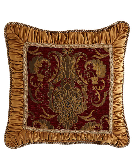 "Austin Horn Collection Scarlet Pillow with Shirred Gold Frame, 18""Sq."