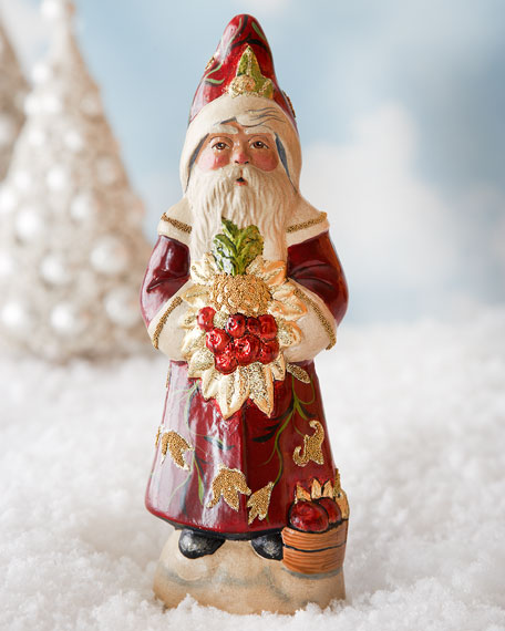 Vaillancourt Folk Art Santa in Burgundy Floral Coat