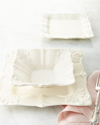 12-Piece White Square Baroque Dinnerware Service