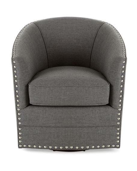 Bryn St. Clair Charcoal Tweed Swivel Chair