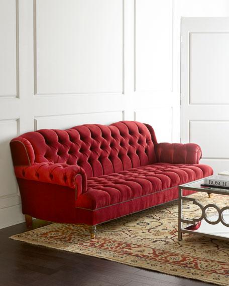 "Haute House Mr. Smith Cranberry Tufted Sofa 94.5"""