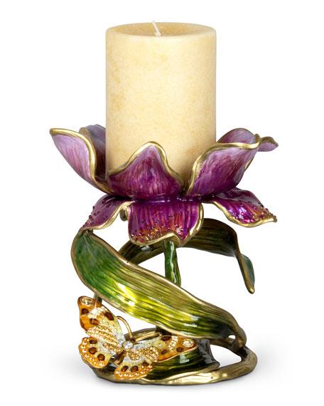 "Jay Strongwater Aimee Floral 7"" Pillar Candleholder"