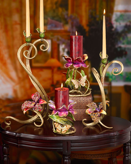 "Jay Strongwater Meredith Floral 9"" Pillar Candleholder"