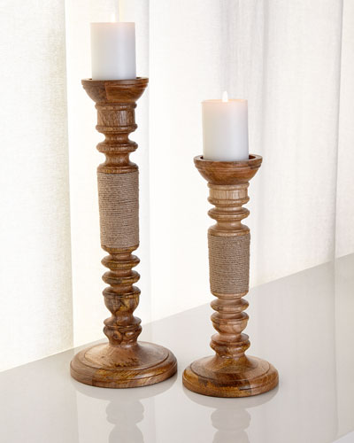Jute-Wrapped Candleholders, 2-Piece Set
