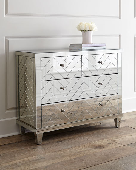 Regina Andrew Design Troy Chevron Mirrored Chest Neiman