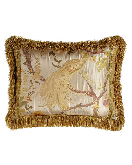 Sweet Dreams King Sham with Pheasant Center, Gimp Accents, & Brush Fringe