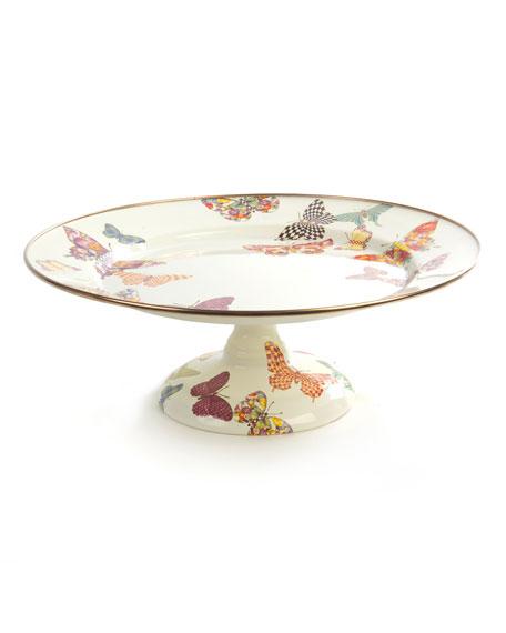 MacKenzie-Childs White Butterfly Garden Small Pedestal Platter