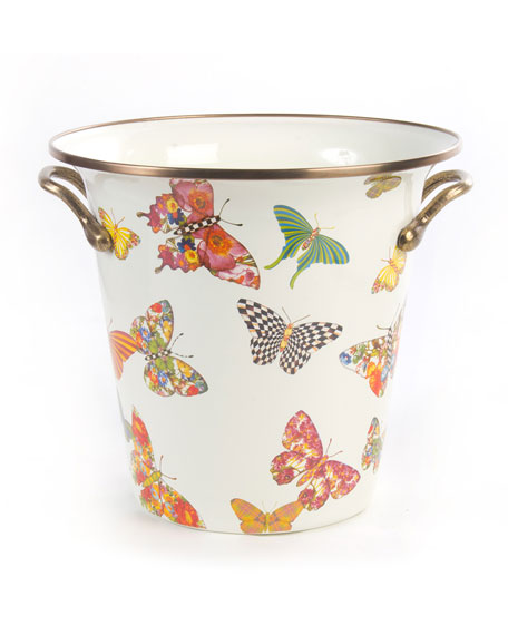 MacKenzie-Childs White Butterfly Garden Wine Cooler