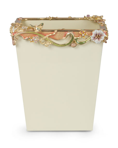 Jay Strongwater Devon Cream Floral Scroll Wastebasket
