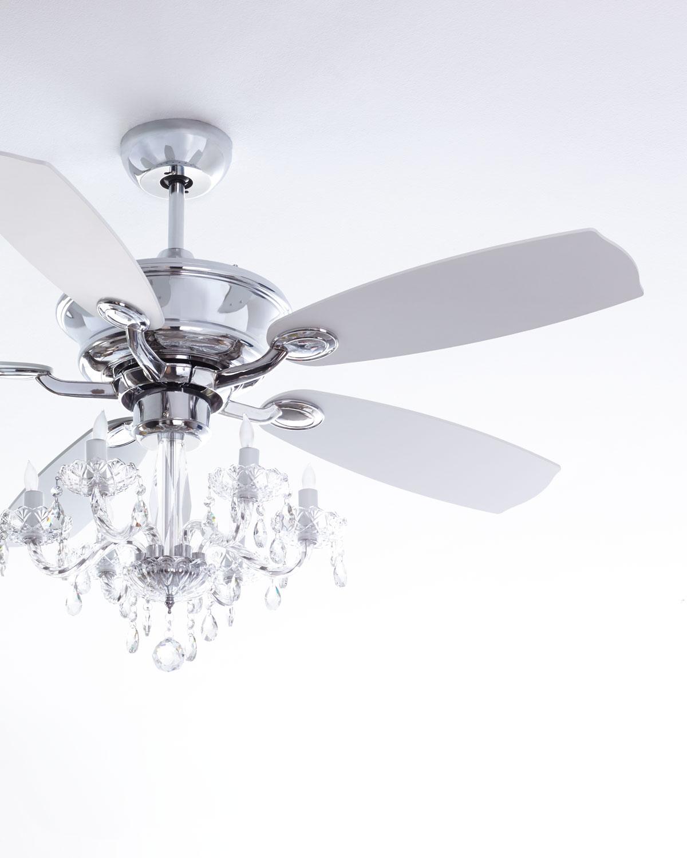 """White Chandelier Ceiling Fan: Julianne White Fandelier, 52""""D"""