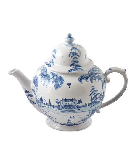 Juliska Country Estate Delft Blue Teapot, Sugar Bowl,