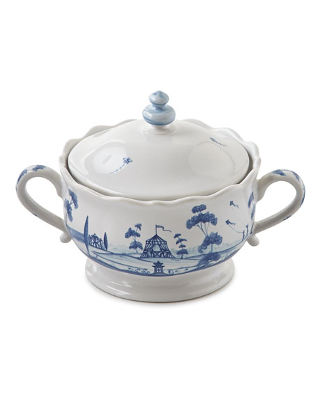 Juliska Country Estate Delft Blue Lidded Sugar/Jam Bowl