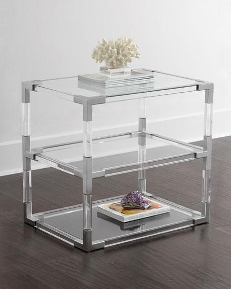jacques lucite u0026 nickel twotier table - Lucite Table