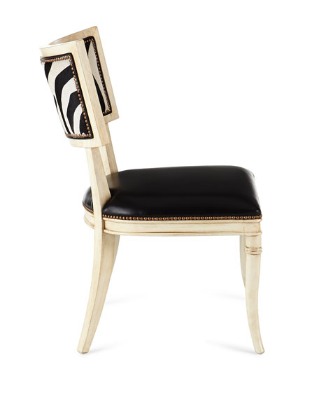 Black Zebra Leather Dining Chair