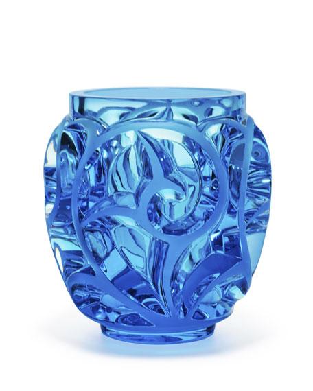 Lalique Tourbillons Limited Edition Blue Vase Neiman Marcus
