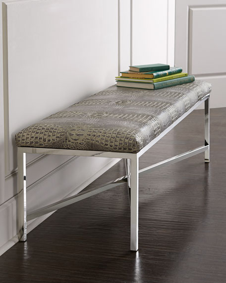 Moreletti Crocodile-Embossed Bench
