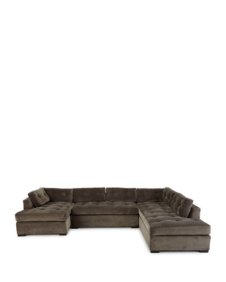 """Old Hickory Tannery McLain Gray 3-Piece Right-Side Chaise Sectional 136.5"""""""