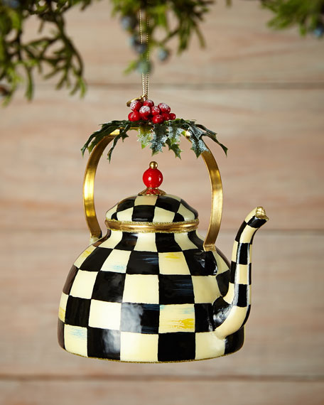 MacKenzie-Childs Courtly Check Tea Kettle Christmas Ornament