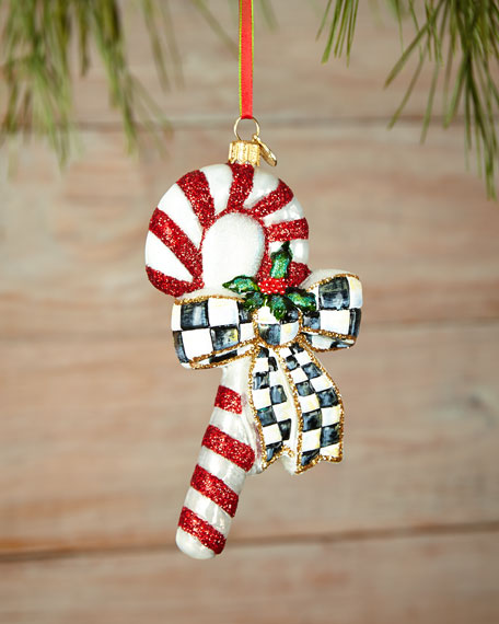 MacKenzie-Childs Courtly Candy Cane Christmas Ornament | Neiman Marcus