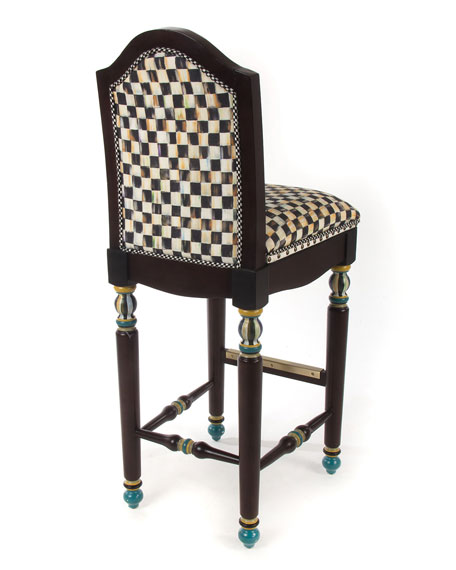MacKenzie-Childs Courtly Check Underpinnings Barstool with Back