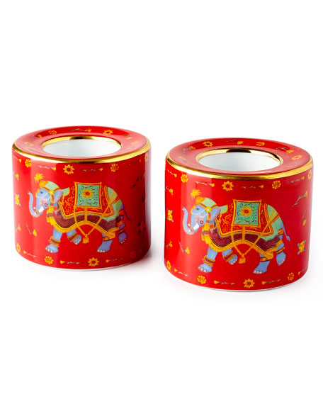 Halcyon Days Ceremonial Indian Elephant Red Tea Light