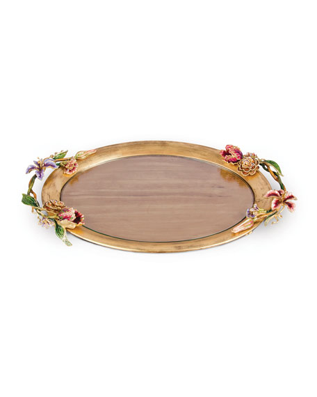 Jay Strongwater Floral Oval Tray