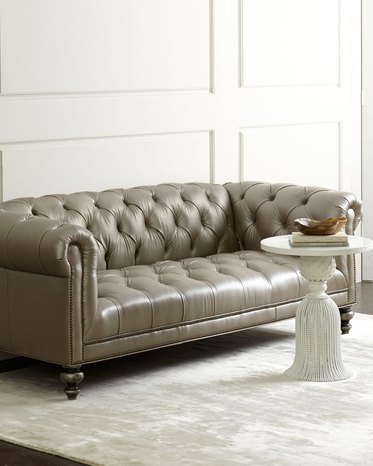 Old Hickory Tannery Morgan Gray Chesterfield Leather Sofa Neiman