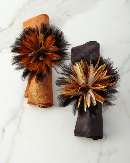 Deborah Rhodes Two-Tone Ringtail Feather Napkin Ring