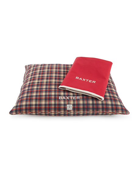 Large Plaid Dog Bed with Personalized Blanket