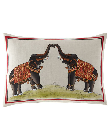 "Hand-Painted Elephants Pillow, 12"" x 18"""