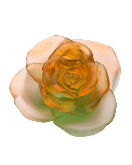 Daum Rose Passion Orange/Green Flower