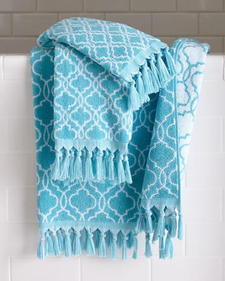 Dena Home Tangiers Fringed Ogee Pattern Bath Towel