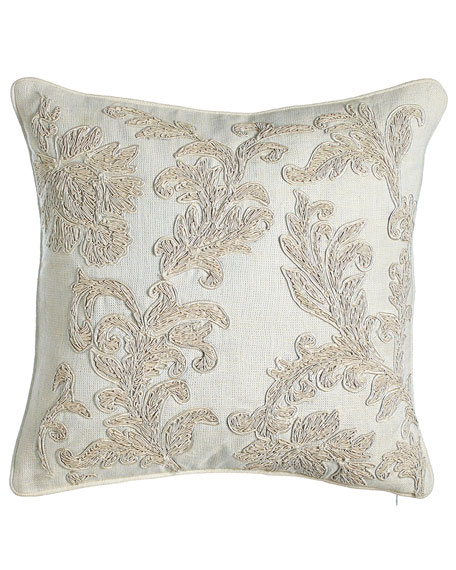 "Austin Horn Collection Embroidered Ivory Florenza Pillow, 18""Sq."