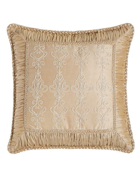 "Elizabeth Lace Pillow with Ruched Border, 19""Sq."