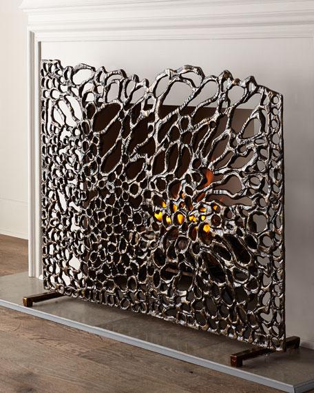 Organic Bronze Fireplace Screen