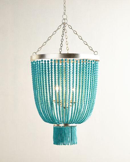turquoise bead 4 light chandelier