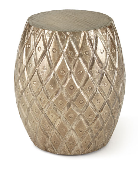 RATTAN DS STOOL W/SILVER CLA