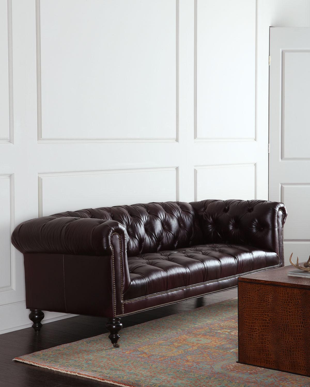 Morgan Aubergine Chesterfield Leather Sofa