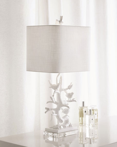 White Bird-on-Branch Lamp