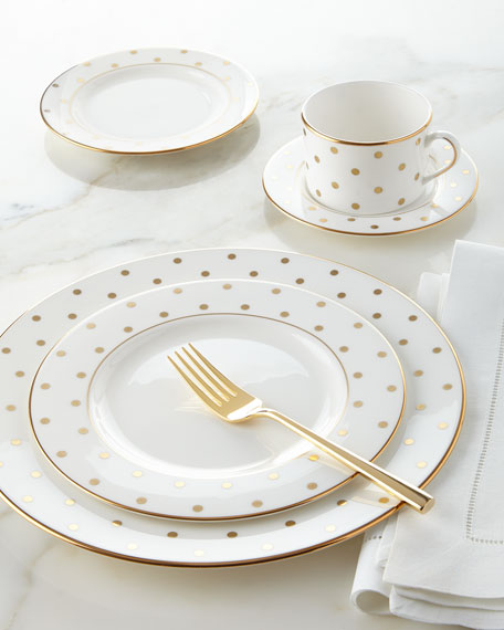 Kate Spade New York 5 Piece Larabee Road Gold Dot Dinnerware Place Setting