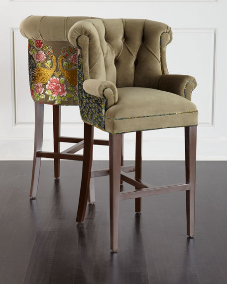 Haute House Peacock Tufted Barstool