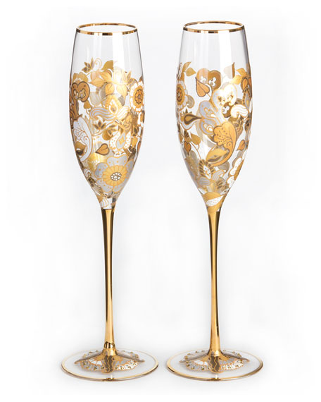 Jay Strongwater Floral-Vine Champagne Flutes, Set of 2