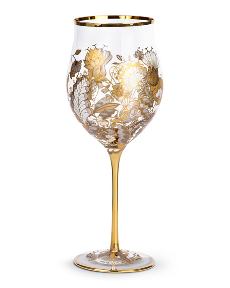 Jay Strongwater Floral-Vine Wine Glasses, Set of 2