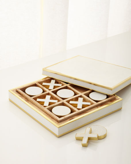 AERIN Cream Shagreen Tic Tac Toe