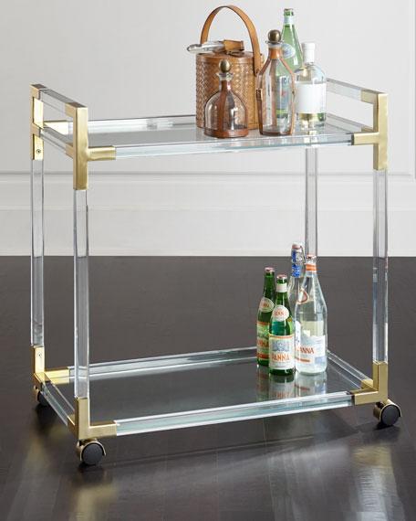 Jacques Acrylic & Brass Bar Cart