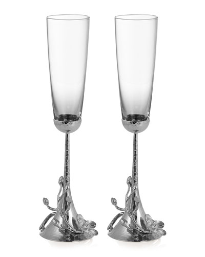 White Orchid Toasting Flutes, Set of 2