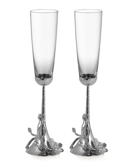 Michael Aram White Orchid Toasting Flutes, Set of